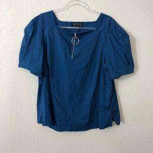 Eloquii Tops - Eloquii | Blue Blouse with Zipper Detail